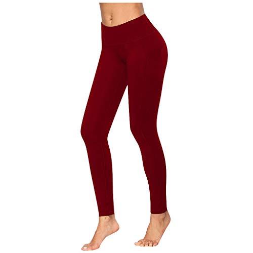 Topkeal - Leggings de yoga para mujer, opacos, cintura alta, ajustados, sin costuras, para gimnasia, control de abdomen, largos, deportivos, con bolsillos rojo XL