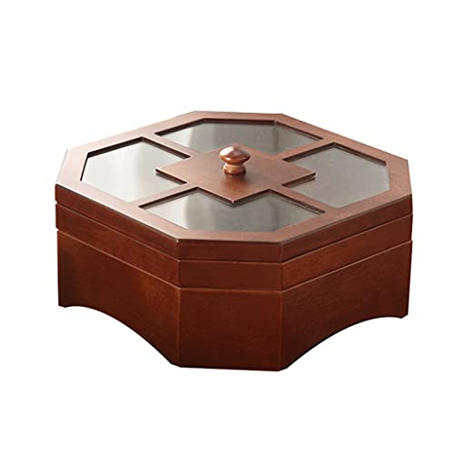 Snack Platter Nuez Sirviendo Plato de platura Tazón de fuente de madera Caja de frutos secos de madera de 8 ángulos Bocadillos para el hogar Caja de tuerca con tapa Multifunción Snack Envase de almace