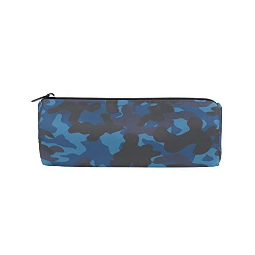 Bolsa de lápices de camuflaje militar azul, estuche redondo con cremallera, bolsa de papelería, cosméticos y brochas de maquillaje para el trabajo de la oficina
