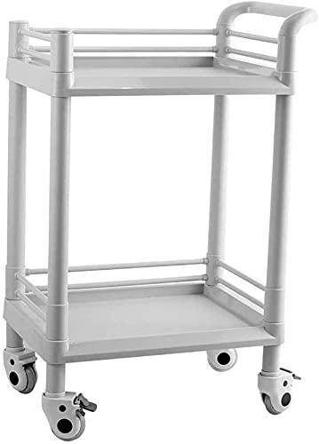 Carro médico Carritos de laboratorio Sirviendo el estante Utility Utility Cart Numping Carrito de la utilidad médica de 2 niveles con asa, carro de salón de belleza ABS con rueda, capacidad de 100 kg,
