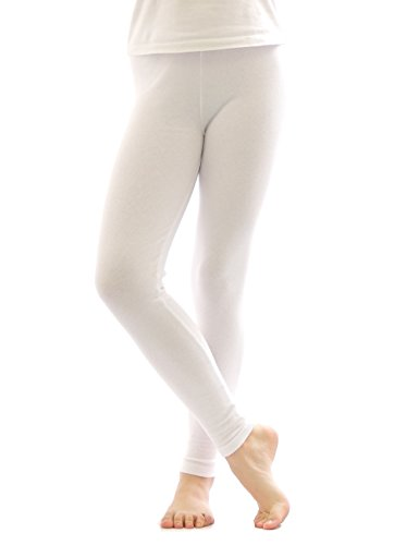 yeset Thermo Leggings Leggins Hose lang aus Baumwolle Fleece warm dick weich Weiss L