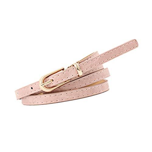 NUREINSS Damen Gürtel Kunstleder Gürtel für Jeans Kleid 1cm-Breite Rosa