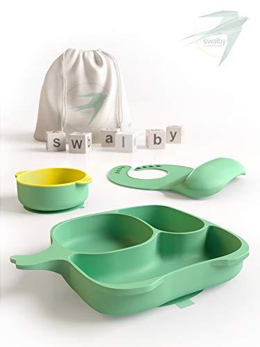 Swalby Baby Kinderteller Silikon Geschirrset Teller Schüssel (mit Saugnapf und Rutschfest) Lätzchen mit Auffangschale Baumwollbeutel zum Mitnehmen [Entscheide dich für Qualität]