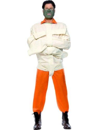 Hannibal Kostüm Orange mit Overall Maske und Zwangsjacke, Medium