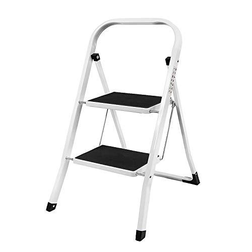 Draagbare opvouwbare 3-draads trapladder Heavy Duty Steel Safety Stappenladder met leuning Ondersteuning Niet Slip Mat Tread voor Keuken Thuis Tuinkantoor, 150kg Draagvermogen Steel ladder(2-Step) Zwart