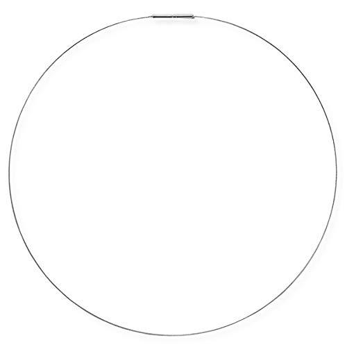Drachenfels Luxus Halsreif aus Edelstahl   Flexibler Halsreif aus Stahl   Eleganter einreihiger Edelstahlreif mit Bajonettverschluss 1,5 mm (Silber, 50)