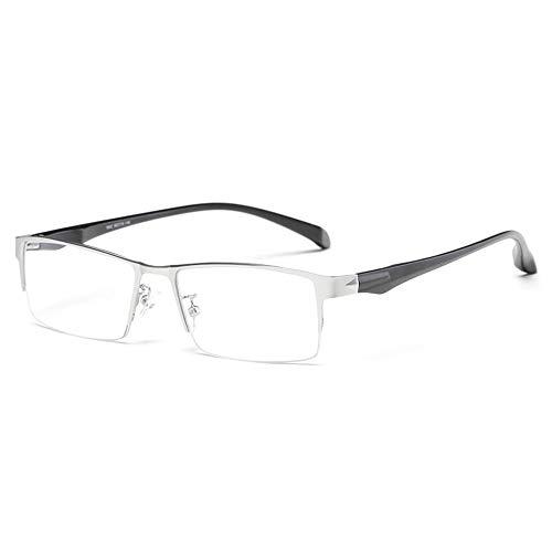 QXQX leesbril voor mannen, halve tekst, blauw licht, rechthoekig frame, niet-verblindend +1,00-+3,50