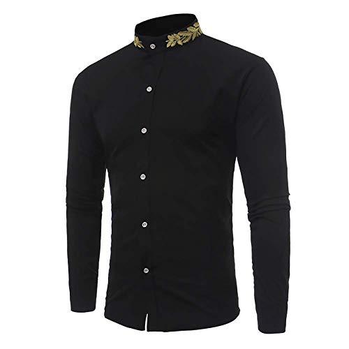 X&Armanis Camicia Business Casual per Uomo, Camicia Collo Colletto Ricamato in Misto Cotone Camicia di Moda retrò,1,XL