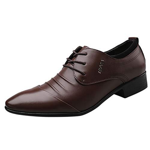 HoSayLike Zapatos De Cuero De Los Hombres Negocios Casual CóModo Ropa Formal Puntiagudo Ata para Arriba Zapatos De Traje Zapato De Boda Zapatos De Traje Masculino