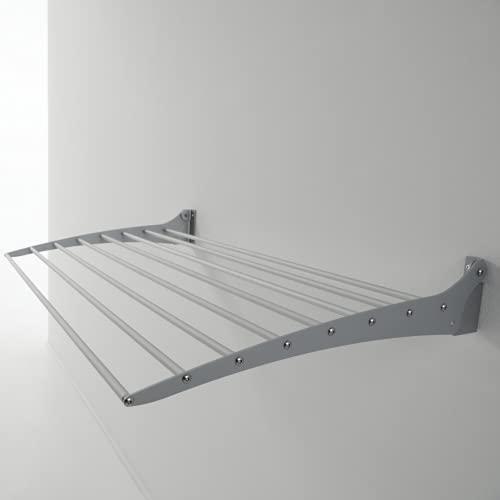 Foxydry Fold, Stendibiancheria da parete, Stendino Verticale, Pieghevole da Interno e Esterno in Alluminio e Acciaio, 120x50x10cm (120)