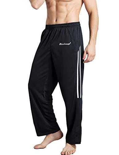 Duuluup Herren Jogginghose mit Taschen, offener Unterseite, sportliche Yogahose mit lockerer Passform - - X-Groß