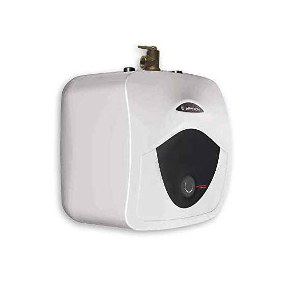 """Ariston Andris 2.5 Gallon 6-Year 120-Volt Corded Point of Use Mini-Tank Electric Water Heater 7 EASILY ACCESSIBLE HOT WATER: Compact designed 8 Gal. mini tank. Provides instant hot water at point of use. 6-year limited warranty on tank, 2-year warranty on parts. Wall or floor mounted unit (wall brackets & rubber feet included). DO IT YOURSELF INSTALLATION: 2000-Watt heating element draws 12 Amp. 65°F-161°F temperature range. CAN FIT VIRTUALLY ANYWHERE: Dimensions (pipes included): 17.5""""W x 17.5""""H x 15.25""""D; Water Connection: 3/4"""" NPT"""