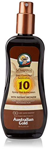 Australian Gold Sunscreen Spf10 Spray Gel With Instant Bronzer Color Marron 237 Ml