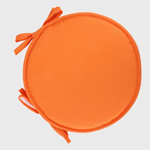 Wakauto Stuhlkissen Sitzkissen Runde Memory Foam Stuhlkissen Autositzkissenbezug Bankboden Schwammkissen mit Krawatten für Das Büro zu Hause Schule 30Cm (Orange)
