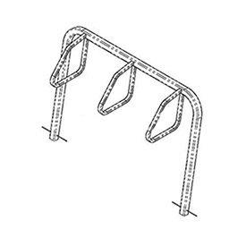 City Bicycle Rack, Single Sided, Below Grade Mount, 3-Bike