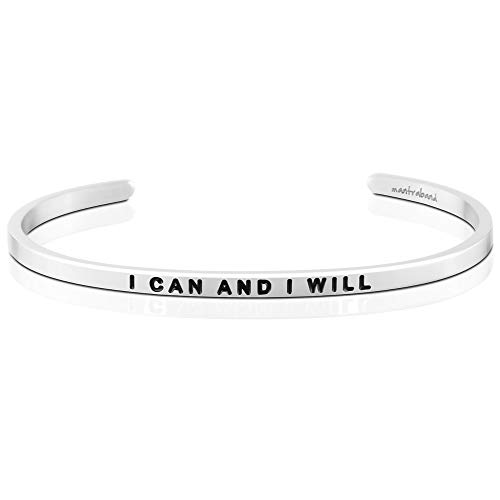 MantraBand Bracelet - I Can and I Will - Inspirational Engraved Adjustable Mantra Band Cuff Bracelet - Silver - Gifts for Women (Grey)
