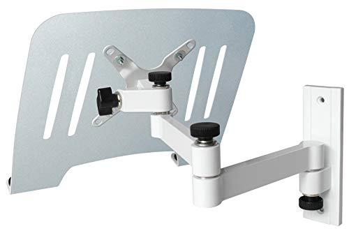 DRALL INSTRUMENTS Laptop Wandhalterung Halterung weiß mit Notebook Adapterplatte Ablage Silber Modell: L52W-IP3S