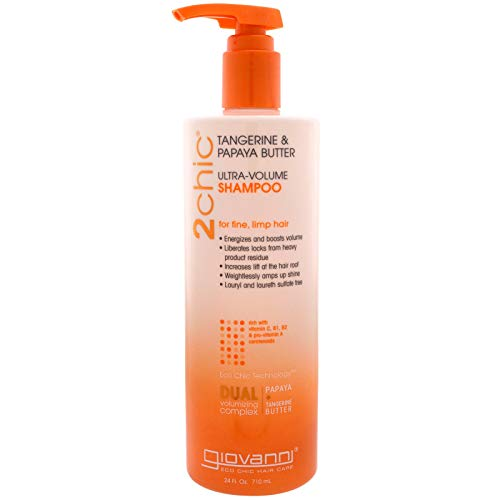 GIOVANNI 2chic Ultra Volume Shampoo, 24 oz. for Fine Limp Hair, Papaya & Tangerine Butter, Builds Volume, Thickens Hair, Removes Product Buildup, Sulfate Free, No Parabens, Color Safe (Pack of 1)