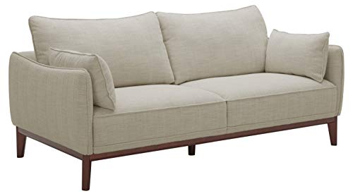 """Amazon Brand – Stone & Beam Hillman Mid-Century Sofa Couch with Wood Base and Legs, 78""""W, Ivory"""