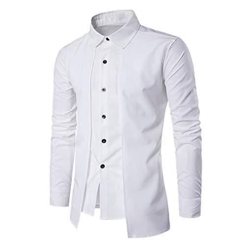 Herren Gefälschte Zweiteilige Doppelleiste Slim Langarm Hemd Herren Hemden Kleidung Bluse Gr. L, weiß