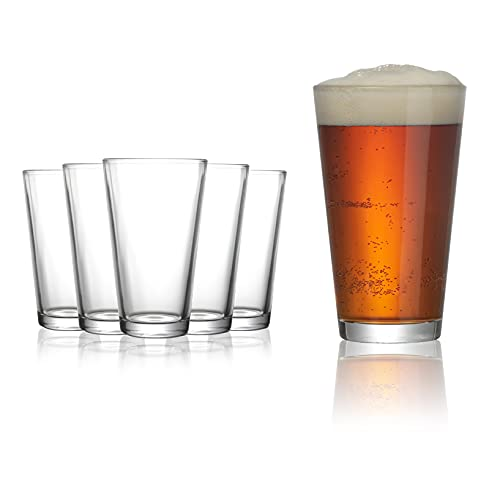 Modvera Drinkware Beer Pint Glass 16 Ounce | Set of 6