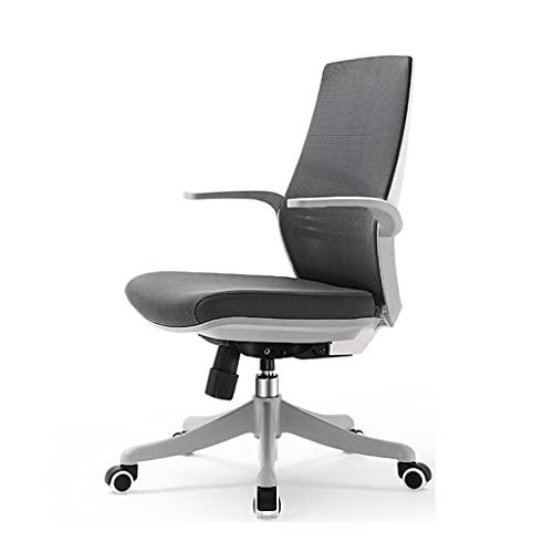 ZRJ Bürostühle Bürostuhl Räder Büro Task Schreibtischstuhl Swivel Home Comfort Stühle Mit Flip-Up-Arme Für Home Office-Schlafzimmer (Color : Dark Black)