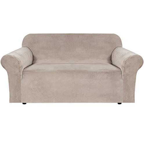 E EBETA Samt-Optisch 2 Sitzer Sofabezug Spandex Couchbezug Sesselbezug, Elastischer Antirutsch Sofahusse für Wohnzimmer Hund Haustier Möbelschutz ( Khaki )