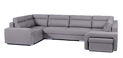 Alter GM Large U-SHAPED SOFA BED Avares-U Seater Minibar Drawer Footstool Sleeping Function 3 Storages Modern Couch 370cm 12'1'' (Light Grey (inari 91), Right hand side)
