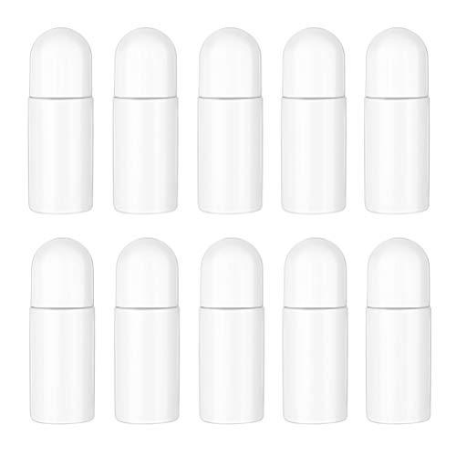 WBTY 10 botellas de rodillo de plástico de 50 ml, botellas desodorantes vacías, rellenables, para aceites esenciales, perfumes, cosméticos
