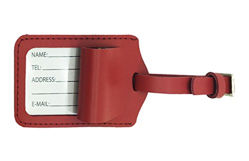 AVIMA BEST Premium Handcrafted Leather Luggage Bag Tags 2 Pieces Set With Name Address Id Label - Ideal for luggage Cruises Airline Travels Purses Swim Bags Golf Bags (Red)