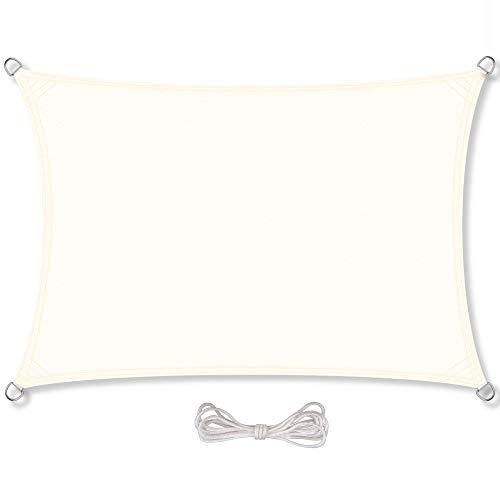 CelinaSun Sonnensegel inkl Befestigungsseile PES Polyester wasserabweisend imprägniert Rechteck 3,5 x 5 m Creme weiß