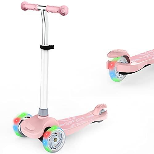 IMMEK Kinderroller 3 Räder für Kinder Roller ab Über 2 Jahre alt Kleinkinder Scooter für Jungen und Mädchen mit 3 PU LED Räders, Verstellbare Lenker und Maximale 50 KG (Rosa)