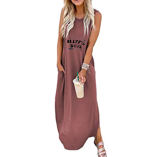 LUDAY Women's Summer Casual Sleeveless V Neck Strappy Split Loose Dress Beach Cover Up Long Cami Maxi Dresses with Pocket