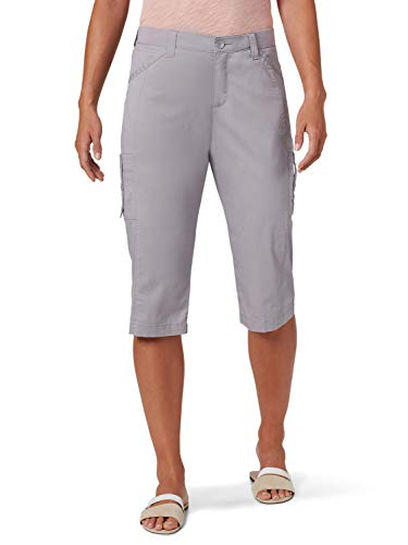 Lee Women's Flex-to-go Relaxed Fit Cargo Skimmer Capri Pant, Alloy, 2 Petite
