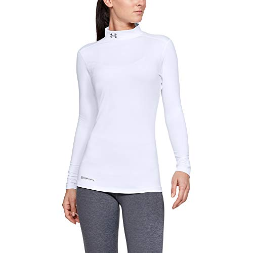 Under Armour Women's ColdGear Authentic Mock, White (100)/Metal, X-Small