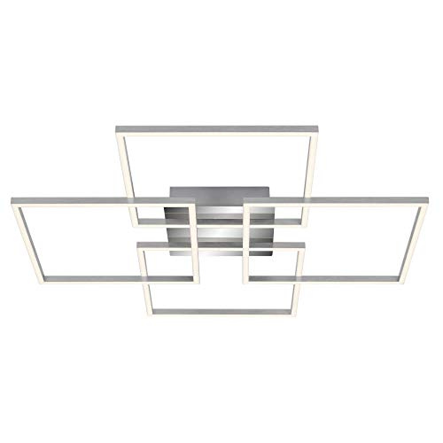 Briloner Leuchten - Deckenleuchte, Deckenlampe dimmbar, inkl. Memoryfunktion, 2 LED-Module drehbar, 57 Watt, 4.800 Lumen, 3.000 Kelvin, Chrom-Alu, 724x724x80mm (LxBxH), 3131-018, Chrom / Aluminium