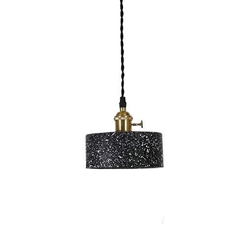 RJJBYY Nórdico industrial retro cemento colgante luz cocina baño comedor pasillo LED hormigón lámpara colgante base techo luces negro pequeña lámpara