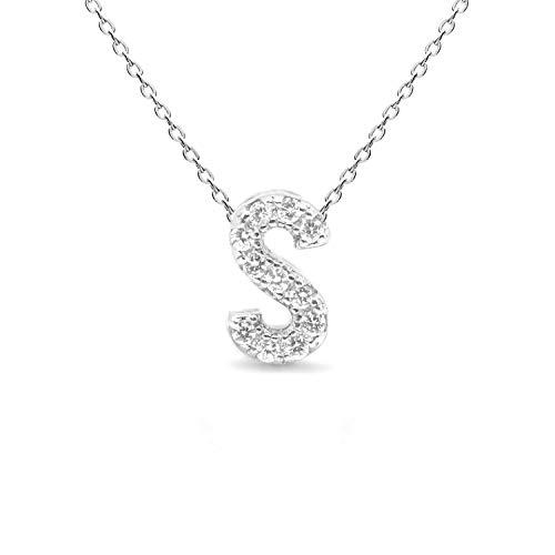 LUXENTER Collar Alphabet de Plata de Ley 925 - Letra S