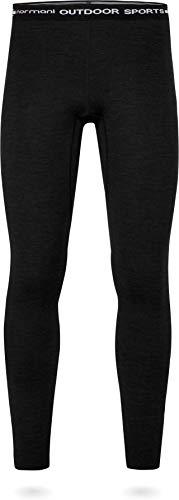 normani Winter Merinounterwäsche Leggins für Herren 350g Grammatur - EXTREM WARM - Winterunterhose Thermounterwäsche aus Merinowolle und Lyocell Farbe Schwarz Größe XXL/56