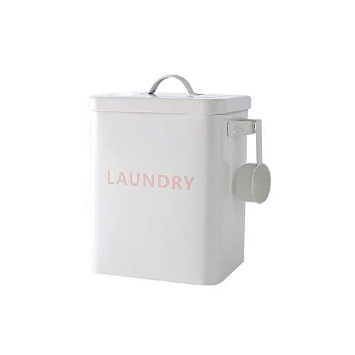 Baffect Haushaltswäsche Pulver Aufbewahrungsdose mit Schaufel,3 kg Metall Waschpulver Zinn Waschpulver Aufbewahrungsbox Behälter und Scoop zum Speichern von Waschmittel Tabletten (weiß)