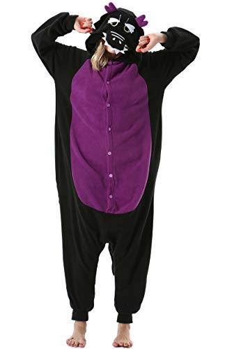 Damen Herren Jumpsuit Onesie Tier Fasching Halloween Kostüm Lounge Sleepsuit Cosplay Overall Pyjama Schlafanzug Erwachsene Unisex Schwarz Drache for Höhe 140-187CM