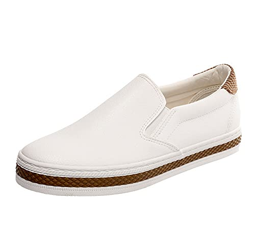 Women's Fashion Flat Casual Slip-on Shoes Comfortale Platform Loafers White