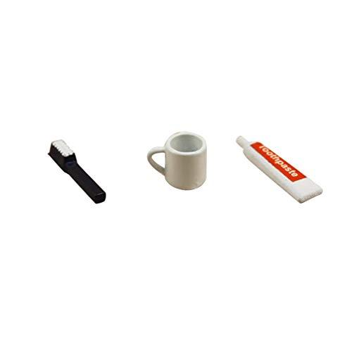 Vektenxi Puppenhaus Zubehör 3 Teile/Satz Miniatur Bad Zahnbürste Zahnpasta Tasse Set Kinder Vorgeben Spielen Spielzeug Bequem Und Praktisch