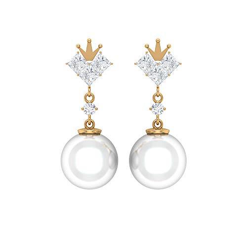 ¿Joyas Rosec? Pendientes de corona con diamante HI-SI 0,78 quilates, 12 quilates 9 mm, pendientes de perlas de agua dulce (calidad AAA), 14K Oro amarillo, Par
