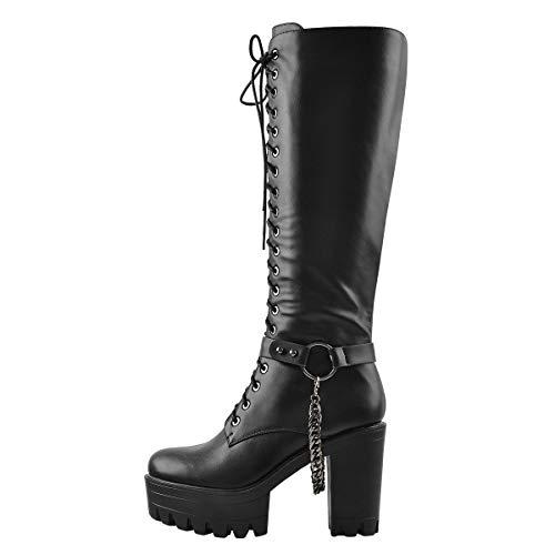 Only maker Damen Reißverschluss Stiefel Langschaft Plateau Schuhe mit Metall Ketten Schwarz 41 EU