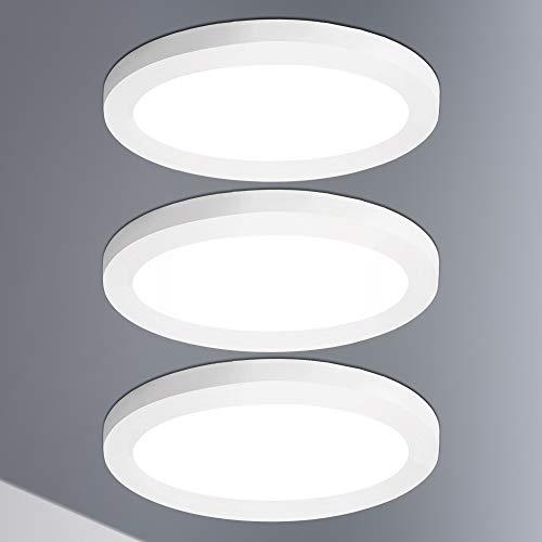 Lumare LED Deckenleuchte Dimmbar 12W 3er Set Extra Flach rund 800lm 170mm IP44 Deckenlampe, Wohnzimmer Badezimmer Küche Flur Keller Bad Wandleuchte Einbau- u. Aufbaustrahler modern warmweiß