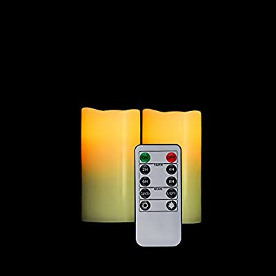 """HIFROM Flameless Candle Battery Operated LED Flickering Ivory Flame Real Wax Pillar Candle Auto-Off Timer 10 Key Remote Control - 2 Pack (H 4"""" x D 2.2"""")"""