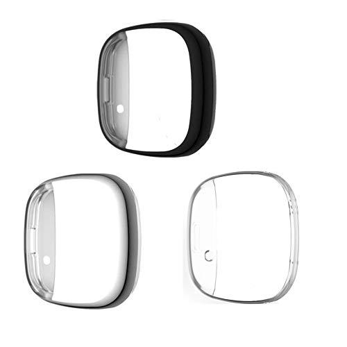 RuenTech - Protector de pantalla compatible con Fitbit Versa 3/Fitbit Sense (negro + plateado + transparente)