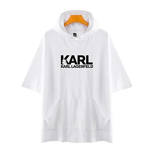 GIJK Creative Vijf Punten Mouwen T-Shirt Hoodie Casual Karl Lagerfeld Zomer Casual Wild Losse 3D HD afdrukken Mode Hooded Pullover 2XS-4XL voor Neutraal Workout