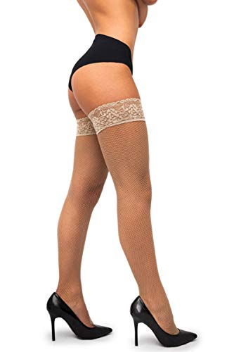 sofsy Netzstrümpfe - Halterlos - Dessous aus Spitze [Made In Italy] Beige Natural 1/2 - X-Small/Small